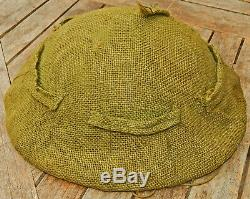 1942 Dated BRODIE Steel HELMET with HESSIAN CAMOUFLAGE Cover RARE 100% Original