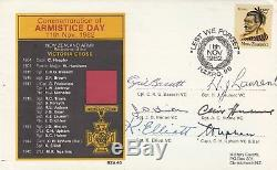 1982 New Zealand Armistice Day cover, Signed by 6 VC winners, C Upham