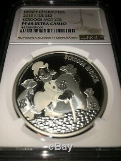 2015 Disney Scrooge McDuck 1 oz. 999 Silver Coin + COA + Box PF 68 Ultra Cameo