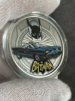 2021 Niue Batman Batmobile Collection 1966 Colored Antiqued 1 oz Silver Coin