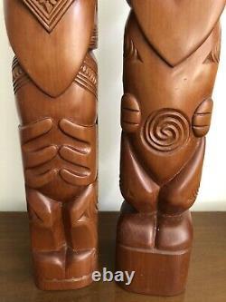 2 Vtg 20 Hand Carved Maori Wood Figures Couple NZ Est 60s Teko Tiki Post Totem