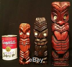 3 TIKI's! Maori new zealand vtg wood carved tribal art bar sculpture statue