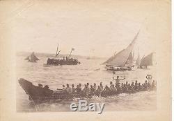 A Maori Canoe Race New Zealand C1890