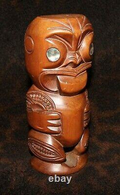 A Superb Tabu Maori Tekoteko Mid-Century NZ Figure with P. H. Leonard Label