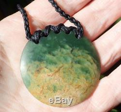 Aaron Greaves Nz Maori Greenstone Pounamu Nephrite Flower Jade Disc Necklace