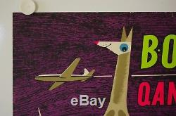 Affiche Tourisme BOAC QANTAS Ann.'50 AUSTRALIA NEW ZEALAND