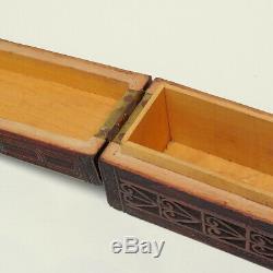 Antique C19th Hand Carved Wood New Zealand Maori Box Figure Mere Club Haka c1890