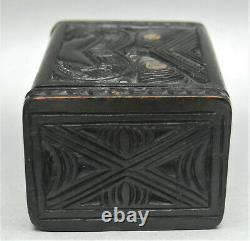 Antique Ethnographic Maori Kapua Wood Zealand Box Mother Pearl Abalone Inlay