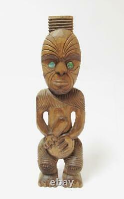 Antique Maori Tekoteko Ancestral Figure Handcarved Wooden Sculpture New Zealand