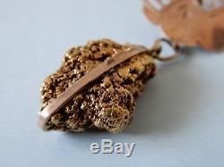 Antique New Zealand Fine Gold Nugget brooch Kia Ora genuine estate find pin