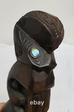 Antique South Pacific Carved Maori New Zealand Wood Totem 1969 Figure Tiki