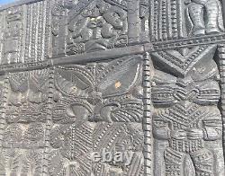 Authentic 19th Century Carved Maori Black Wood Panel (Large, 61 1/2 x 26 x 2)