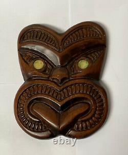 Authentic Maori Matai Wood Face Carving Auckland New Zealand Moko