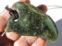 BOWENITE TANGIWAI Maori Greenstone Pounamu Translucent BLUE GREEN SHARK TOOTH