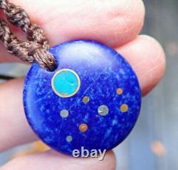 Badakhshan Lapis Lazuli Nz Aotea Fuschite 18k Gold Maori Matariki Necklace