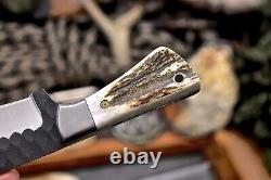 CFK Handmade 154CM Custom BEAR Scrimshaw New Zealand Red Stag Antler Small Knife
