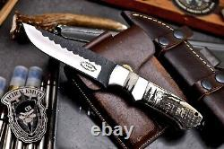 CFK Handmade 154CM Custom FOREST MOON Scrimshaw New Zealand Red Stag Blade Knife