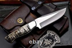 CFK Handmade 440C Custom WOLF FOREST Scrimshaw New Zealand Red Stag Antler Knife