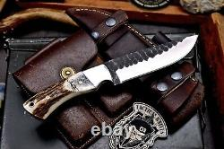CFK Handmade CPM 3V Custom DEER Scrimshaw New Zealand Red Stag Antler Camp Knife