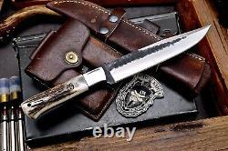 CFK Handmade D2 Custom BEAR WOLF Scrimshaw New Zealand Red Stag Antler Knife
