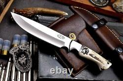 CFK Handmade D2 Custom CHIEF Scrimshaw New Zealand Red Stag Antler Hunting Knife