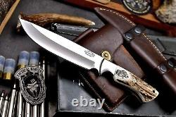 CFK Handmade D2 Custom CHIEF WOLVES Scrimshaw New Zealand Red Stag Antler Knife