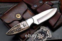 CFK Handmade D2 Custom ELK & DEER Scrimshaw New Zealand Red Stag Antler Knife