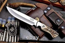 CFK Handmade D2 Custom ELK Scrimshaw New Zealand Red Stag Antler Hunting Knife