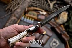 CFK Handmade D2 Custom New Zealand Red Stag Rosewood Hunting Skinner Knife