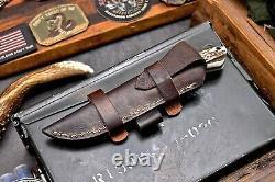 CFK Handmade D2 Custom WOLF Scrimshaw New Zealand Red Stag Antler Hunting Knife