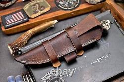 CFK Handmade DC53 Custom ELK BEAR Scrimshaw New Zealand Red Stag Antler Knife