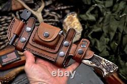 CFK Handmade DC53 Custom New Zealand Crown Stag Antler Hunting Skinner Knife Set