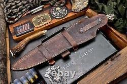 CFK Handmade DC53 Custom SKULL Scrimshaw New Zealand Stag Antler Sub Hilt Knife