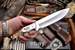 CFK Handmade DC53 Custom WOLVES WOLF Scrimshaw New Zealand Red Stag Antler Knife
