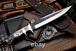 CFK Handmade DC53 DEER TRACKS Scrimshaw New Zealand Stag Antler Sub Hilt Knife