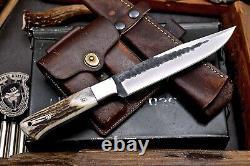 CFK Handmade Hammered D2 Custom New Zealand Red Stag Antler Large Hunting Knife