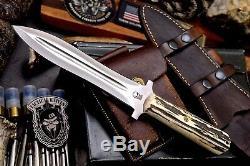 CFK Handmade VG10 Custom NEW ZEALAND RED STAG Viking Combat Dagger Pugio Knife
