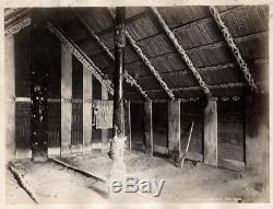 C. 1880's PHOTO NEW ZEALAND JOSIAH MARTIN INTERIOR CARVED HOUSE WAIROA