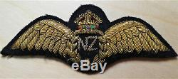 C. Ww2 Royal New Zealand Air Force Bullion Woven Pilot Qualification Wings Badge