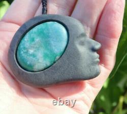 Collectible Rhys Hall Hand Carved Nz Pakohe + Aotea Stone Daydreamer Pendant