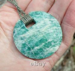 Dallas Crombie New Zealand Aotea Stone Kyanite Fuschite Maori Disk Pendant