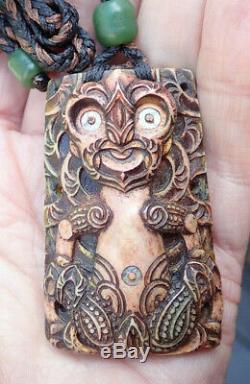 David Taylor Masterpiece Nz Engraved Inlaid Signed Maori Female Guardian Tiki