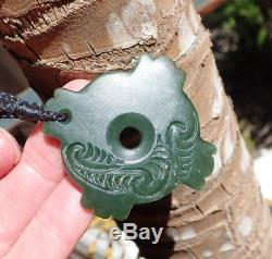 Engraved Nz Pounamu Greenstone Inanga Jade Maori Kaka Poria Parrot Ring Pendant