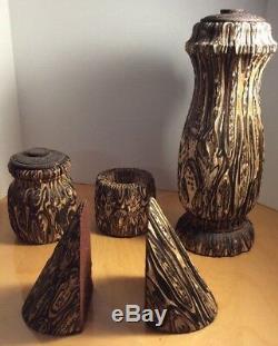 Exotic Patterned New Zealand Tree Fern Mamaku Wood Ponga Fern Set