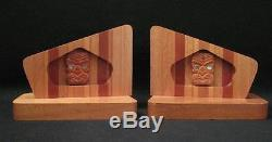 Fab Vintage Maori Tiki New Zealand Native Timber Bookends Sovereign MID Century