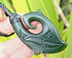 Flawless Engraved Nz Maori Pounamu Greenstone Arahura Jade Hei Matau Fish Hook