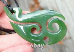 Flawless Nz Pounamu Greenstone Kahurangi Npehrite Jade Maori Ornate Hei Matau