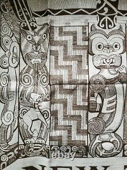 Flax Linen Hand Print Wall Tapestry New Zealand Rare, Carved Maori Whare TIKI