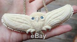 Gareth Mcghie Art Large Hand Carved Deer Bone Nz Maori Ruru Flying Owl Necklace