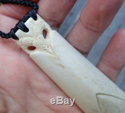 Gareth Mcghie Art Work Nz Deer Bone Engraved Maori Large 0wl Head Hei Toki Adze